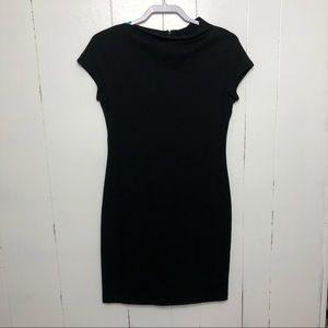 Lafayette 148 Petite Black Short Sleeve Mini Dress